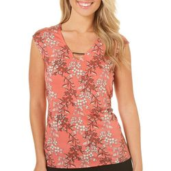 Nue Options Womens Floral Print Keyhole Sleeveless Top