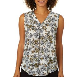 Nue Options Womens Floral Print Sleeveless Top