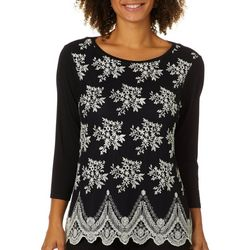 Nue Options Womens Embroidered Mesh Top