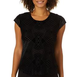 Nue Options Womens Geometric Burnout Velvet Top