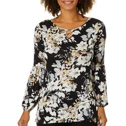 Nue Options Womens Blooming Floral Ring Neck Top
