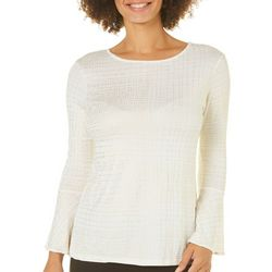 Nue Options Womens Shimmer Grid Bell Sleeve Top