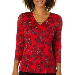 Nue Options Womens Romantic Floral Bar Neck Top