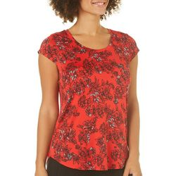 Nue Options Womens Romantic Floral Cap Sleeve Top