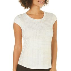 Nue Options Womens Shimmer Grid Cap Sleeve Top