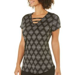Nue Options Womens Medallion Print Ladder Neck Top