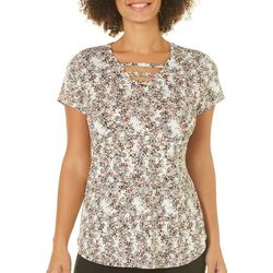 Nue Options Womens Floral Paisley Ladder Neck Top