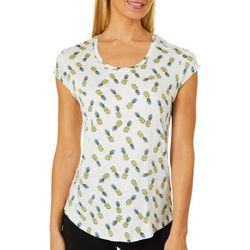Nue Options Womens Day to Night Pineapple Cap Sleeve Top