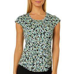 Nue Options Womens Ditsy Floral Day To Night Cap Sleeve Top