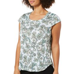 Nue Options Womens Paisley Print Day To Night Top