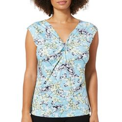 Nue Options Womens Sketched Floral Print Twist Neck Top