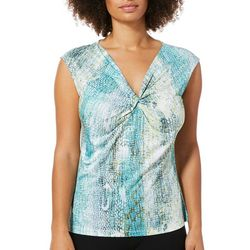 Nue Options Womens Snake Skin Print Twist Neck Top