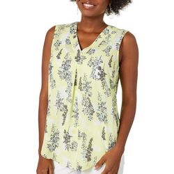 Nue Options Womens Floral Spray Print Sleeveless Top