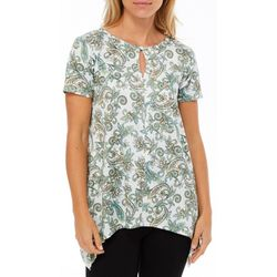 Nue Options Womens Paisley Keyhole Handkerchief Hem Top