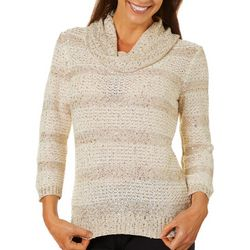 Nue Options Womens Striped Sequin Detail Cowl Neck Sweater
