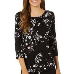 Nue Options Womens Floral Print Boat Neck Top