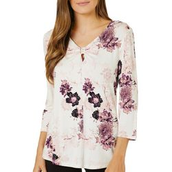 Nue Options Womens Floral V-Neck Knit Top