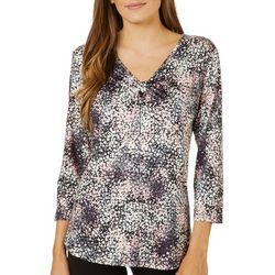 Nue Options Womens Confetti Print V-Neck Knit Top