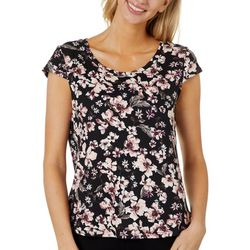 Nue Options Womens Day to Night Floral Print Cap Sleeve Top