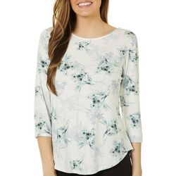 Nue Options Womens Botanical Floral Print Boat Neck Top