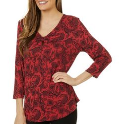 Nue Options Womens Paisley Print V-Neck Knit Top