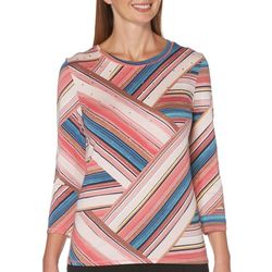 Rafaella Womens Mixed Stripe Jewel Embellished Top
