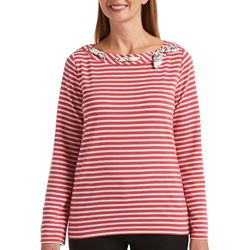 Rafaella Womens Striped Long Sleeve Boat Neck Top