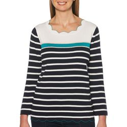 Rafaella Womens Striped Scalloped Edge Top