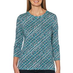 Rafaella Womens Geo Print Round Neck Top