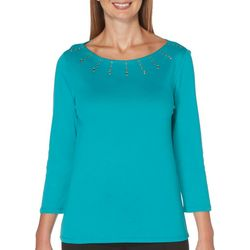 Rafaella Womens Solid Embellished Boat Neck Top