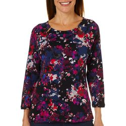 Rafaella Womens Watercolor Floral Bead Neck Top