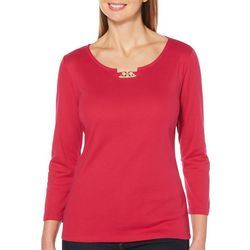 Rafaella Womens Solid Chain Keyhole Top