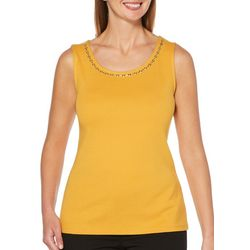 Rafaella Womens Emellished Neckline Solid Tank Top