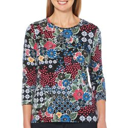 Rafaella Womens Embellished Mixed Floral Top