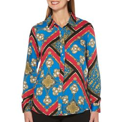 Rafaella Womens Scarf Print Long Sleeve Top