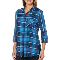 Rafaella Womens Plaid Roll Tab Top