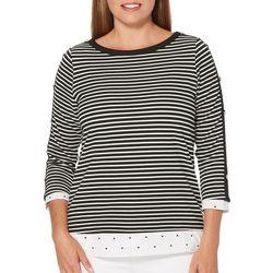 Rafaella Womens Mixed Stripe Button Sleeve Top
