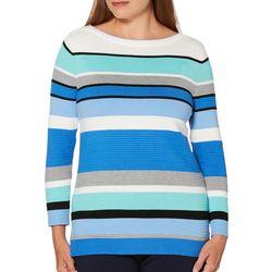 Rafaella Womens Striped Long Sleeve Sweater