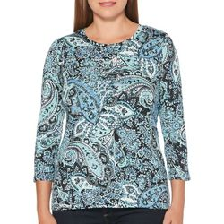 Rafaella Womens Embellished Floral Paisley Top