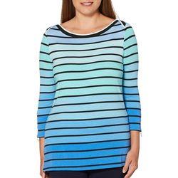 Rafaella Womens Ombre Striped Zip Sleeve Top