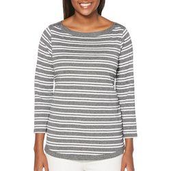 Rafaella Womens Heathered Striped Button Shoulder Top