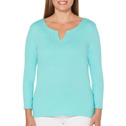 Rafaella Womens Solid Embellished Notch Neck Top