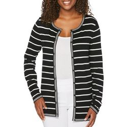 Rafaella Womens Striped Button Down Cardigan