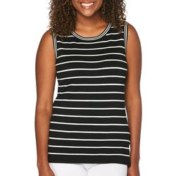 Rafaella Womens Striped Shell Tank Top