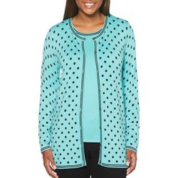 Rafaella Womens Polka Dot Button Down Cardigan