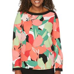 Rafaella Womens Floral Framed Long Sleeve Top