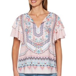 Rafaella Womens Floral Printed Foulard Ruffle Sleeve Top