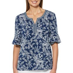Rafaella Womens Embroidered Neck Sketched Floral Top