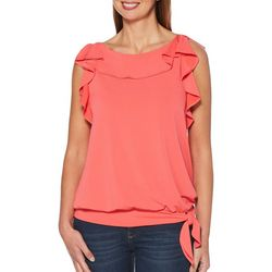 Rafaella Womens Solid Ruffle Trim Sleeveless Side Tie Top