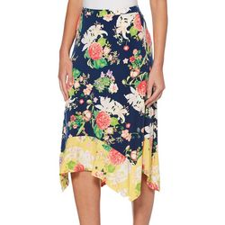 Rafaella Womens Floral Printed Pull On Skirt
